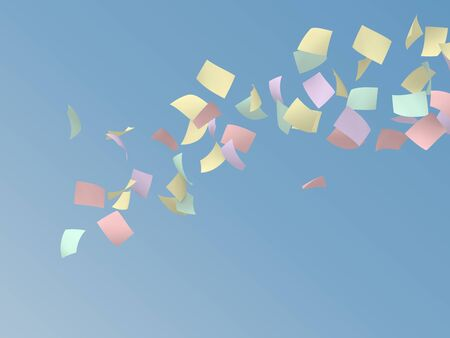 crimp: colorful papers flying on blue sky background. Stock Photo