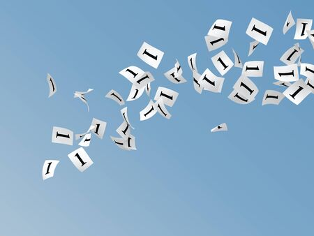 crimp: white papers with number one flying on sky Stock Photo