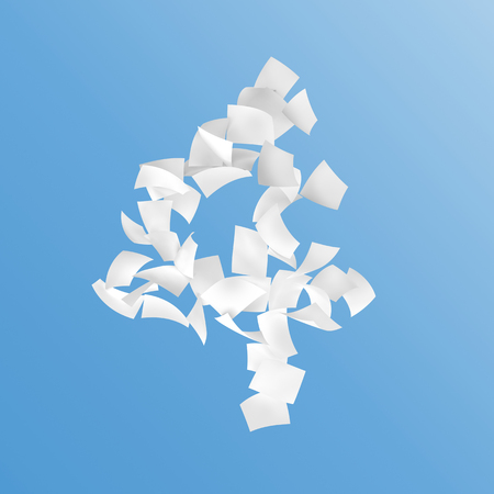 crimp: number four composed by papers on blue background. Stock Photo