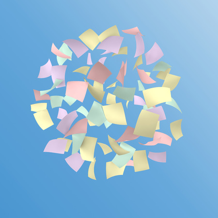 crimp: colorful papers gathered on blue sky background. Stock Photo