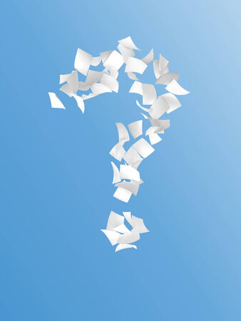 crimp: question mark composed by white paper on blue background.