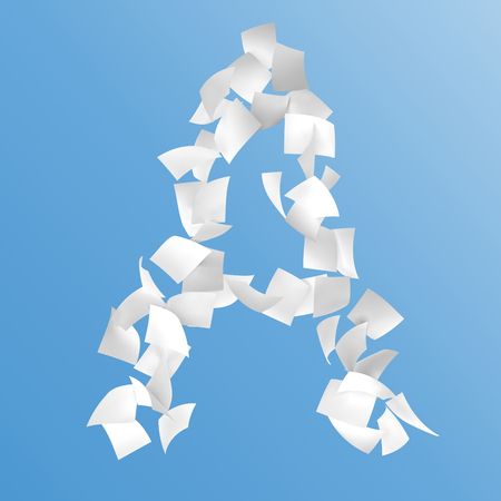 letter A composed by paper on blue background.
