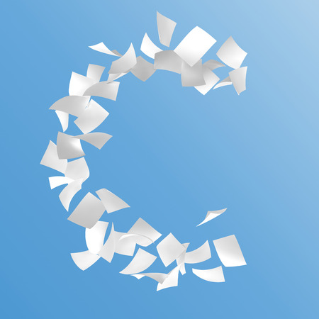 letter C composed by paper on blue background.