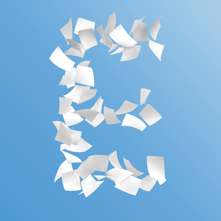 letter E composed by paper on blue background. Stock Photo