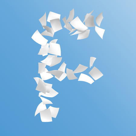 letter F composed by paper on blue background.