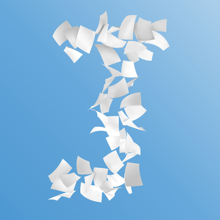 letter J composed by paper on blue background.