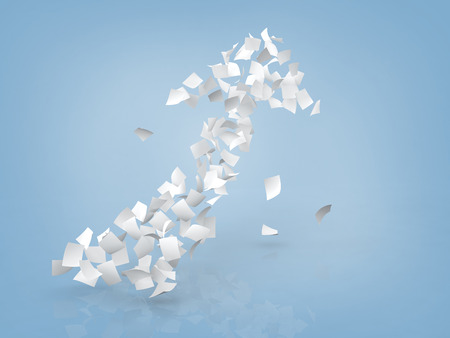 crimp: arrow sign composed by white papers on gray background.