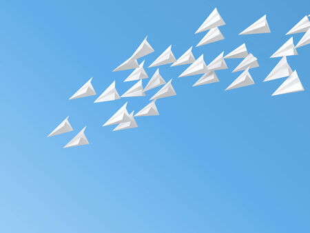 crimp: 3d paper planes flying on blue sky Stock Photo