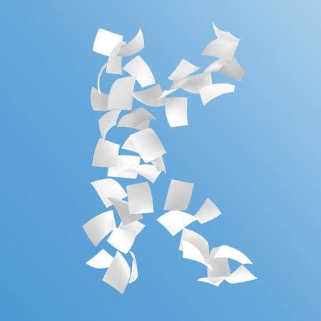 letter K composed by paper on blue background.