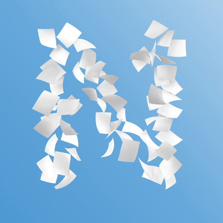 letter N composed by paper on blue background. Stock Photo