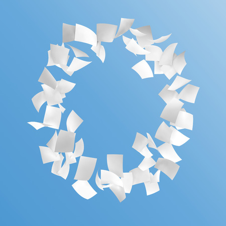 letter O composed by paper on blue background. Stock Photo