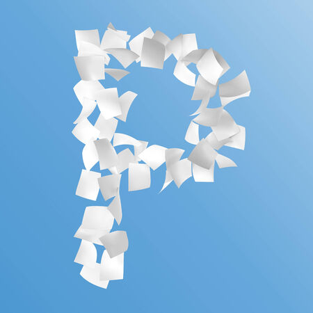 letter P composed by paper on blue background. Stock Photo