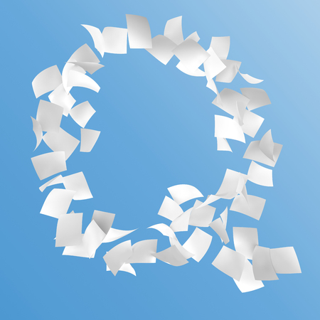 letter Q composed by paper on blue background.