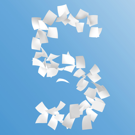 letter S composed by paper on blue background. Stock Photo