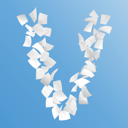 letter V composed by paper on blue background.