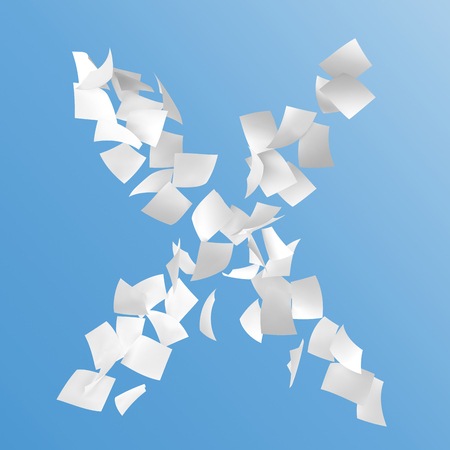 letter X composed by paper on blue background.
