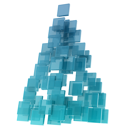 crimp: Christmas tree composed by glass cubesglass cubes on white background.