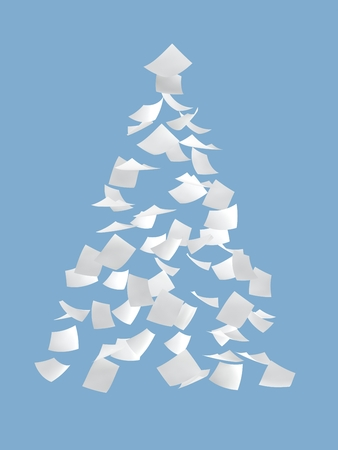 crimp: Christmas tree composed by white papers on blue background.