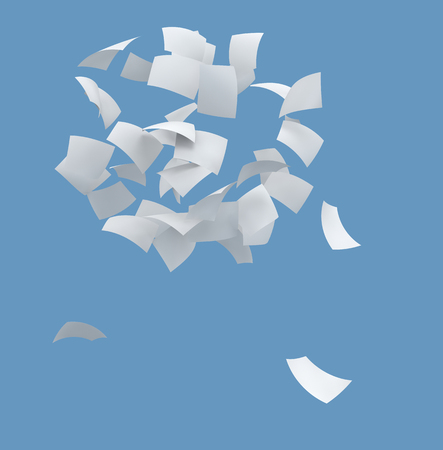 3d white papers flying on blue background 版權商用圖片