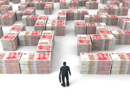 renminbi currency and business man on white backgrond. photo