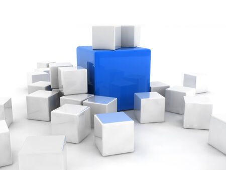 marked boxes: a blue cube placed observably in a group of white cubes.