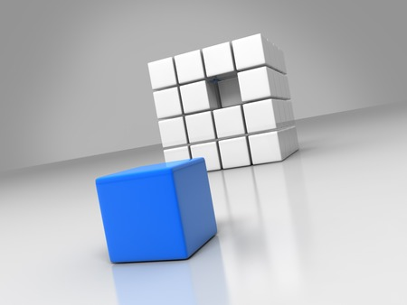 a blue cube placed observably in a group of white cubes.