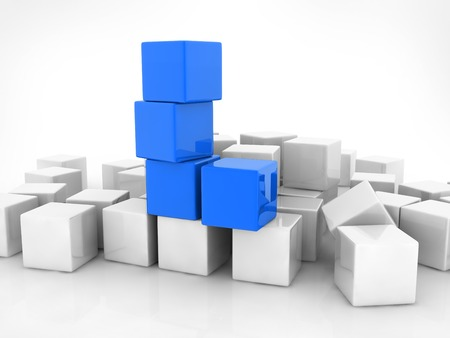 four blue cubes placed observably in a group of white cubes. photo