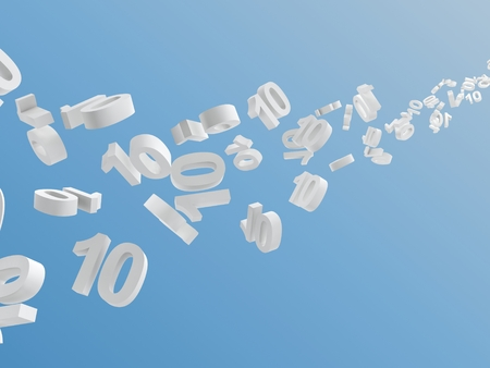 ten empty: white number 10 flying on sky, digitally generated image. Stock Photo