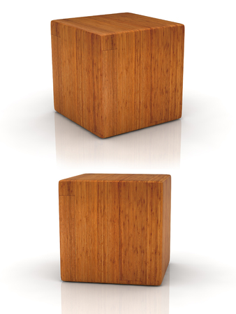 wood cube in two perspectives on white background.