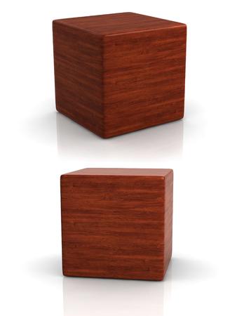 houten kubus in twee perspectieven op een witte achtergrond.