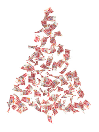 christmas tree composed by renminbi currency on white background. photo