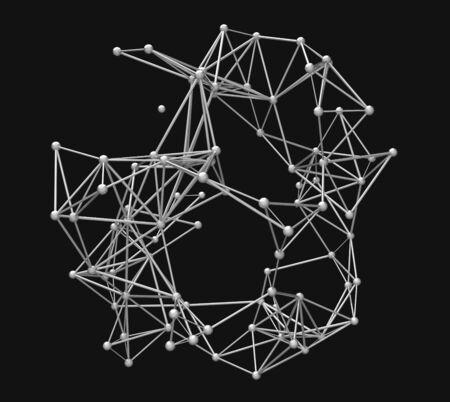 plexus: metallic nerve plexus model on dark background