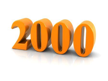 geel metaalnummer 2000 op witte background.digitally geproduceerd beeld.