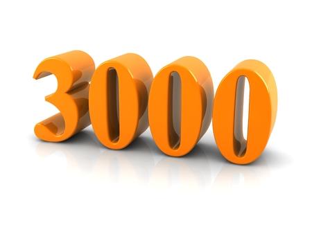 geel metaal nummer 3000 op witte background.digitally geproduceerd beeld. Stockfoto