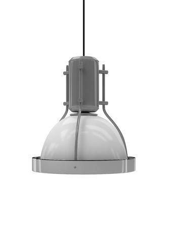 droplight: plafoniera metallico isolato su sfondo bianco. Archivio Fotografico