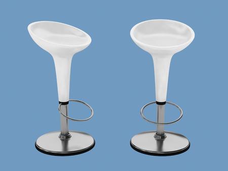 bar chair: white plastic bar chair on blue background.