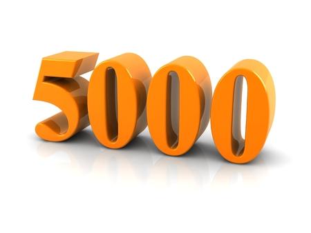 geel metaal nummer 5000 op witte background.digitally geproduceerd beeld. Stockfoto