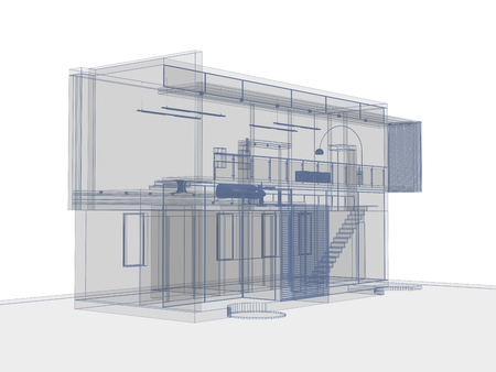 architectural drawing on white background, digitally generated image. photo
