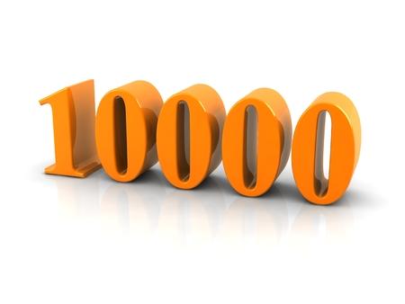 geel metallic nummer 10000 op een witte achtergrond.