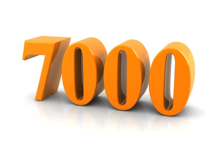 yellow metallic number 7000 on white background.digitally generated image. 版權商用圖片