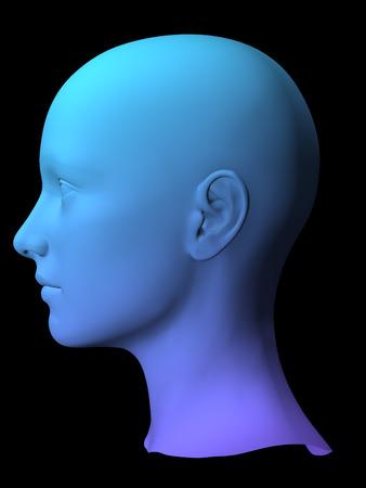colorful 3D female face model on black background.