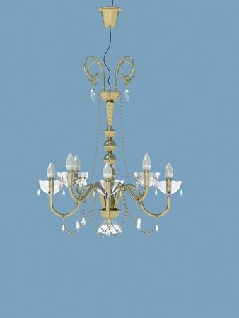 droplight: plafoniera d'oro con luci di forma di candela. Archivio Fotografico