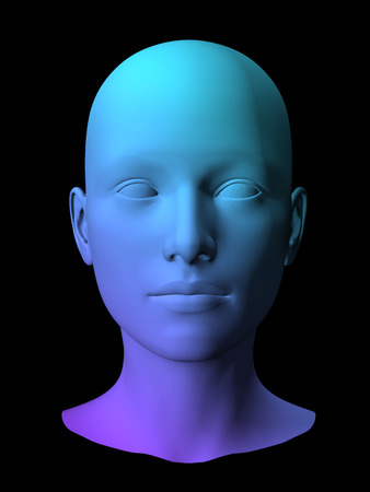 mamma: colorful 3D female face model on black background.