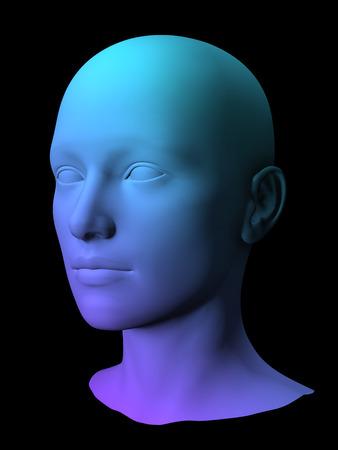 kleurrijke 3D vrouwelijk gezicht model op zwarte achtergrond.