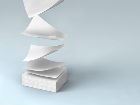 scattered on white background: white papers falling down to gray ground.