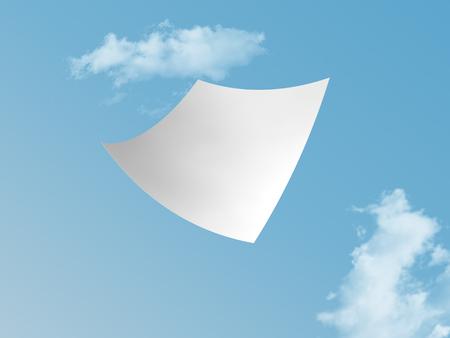 single white paper flying on blue sky.