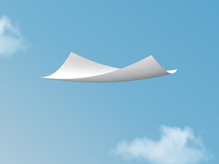 crimp: single white paper flying on blue sky.