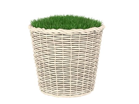 pot hole: knitting basket flowerpot container with green grass in it.