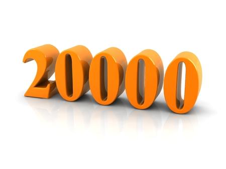 geel metallic nummer 20000 witte background.digitally gegenereerde afbeelding op. Stockfoto