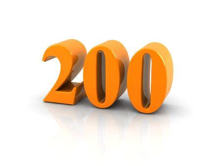 Orange metallic number 200 on white background. 版權商用圖片